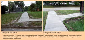 Sedgwick park sidewalk 100509